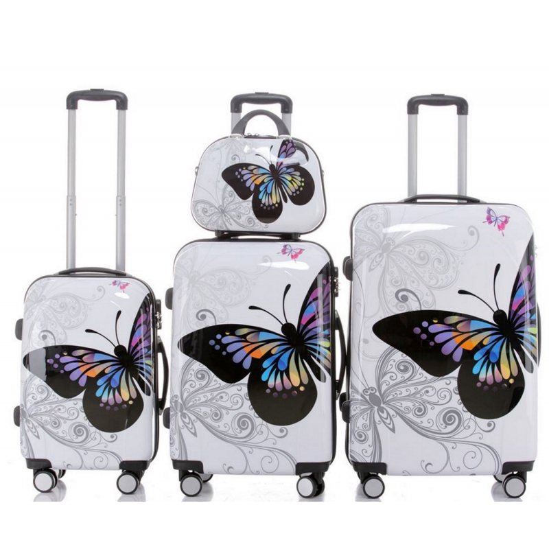 trolley koffer set butterfly 4 teilig 3 trolleys beau. Black Bedroom Furniture Sets. Home Design Ideas