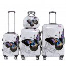 Trolley-Koffer-Set BUTTERFLY, 4-teilig (3 Trolleys + Beauty-Case), 4 Rollen