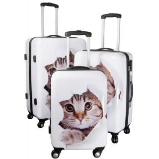Katze - Trolley-Koffer-Set - 3-tlg. - Trolleys 74 + 64 + 54 cm