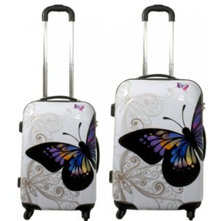 TOP-Design - Trolley-Koffer-Set, 2-tlg, 4 Rollen, Mod. Butterfly