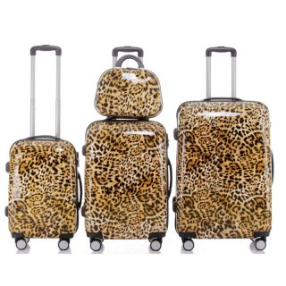 Trolley-Koffer-Set LEOPARD, 4-teilig (3 Trolleys + Beauty-Case), 4 Rollen
