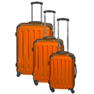 Trolley-Set 3-tlg XXL-Light 4 Rollen Dehnfalte Orange