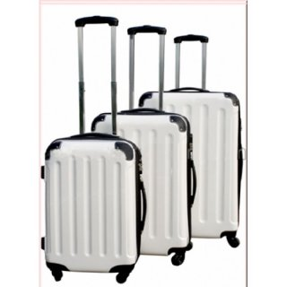 Trolley-Set 3-tlg XXL-Light 4 Rollen Dehnfalte Weiss